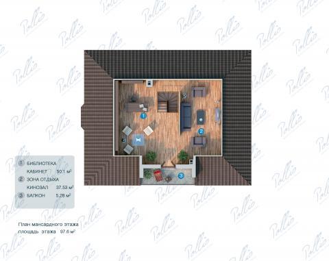Планировка мансарды / 2го этажа X1
