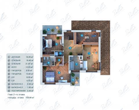 Планировка мансарды / 2го этажа X4