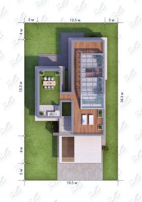 Расположение дома на участке X8