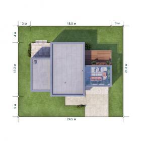 Расположение дома на участке X10
