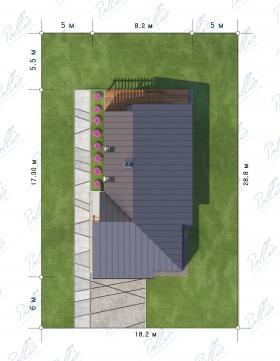 Расположение дома на участке X13