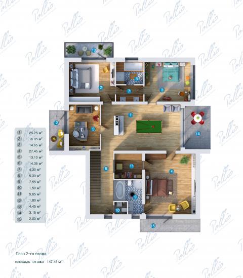 Планировка мансарды / 2го этажа X14