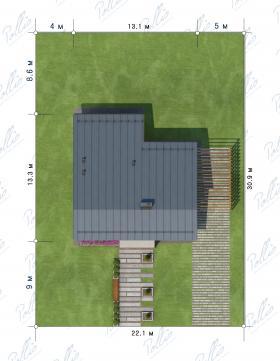 Расположение дома на участке X15
