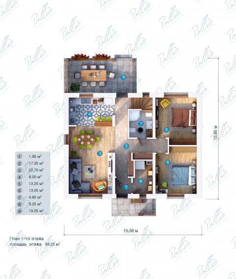Планировка первого этажа X15