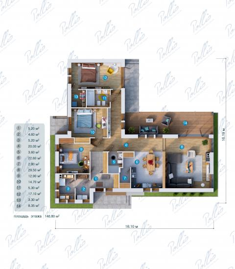 Планировка первого этажа X16
