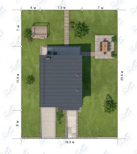 Расположение дома на участке X19