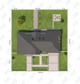 Расположение дома на участке X20