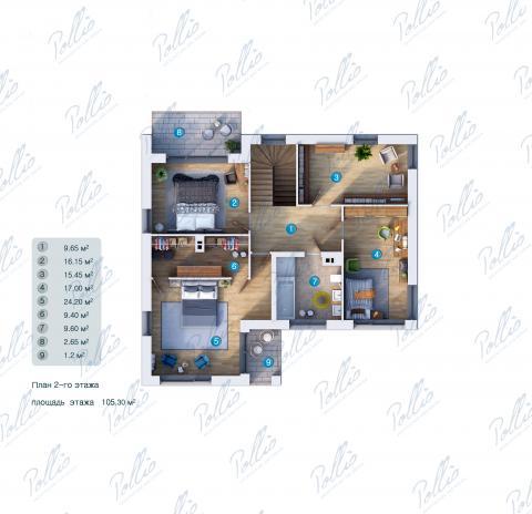 Планировка мансарды / 2го этажа X21