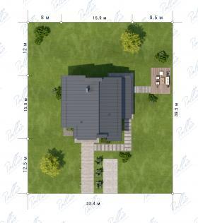Расположение дома на участке X22