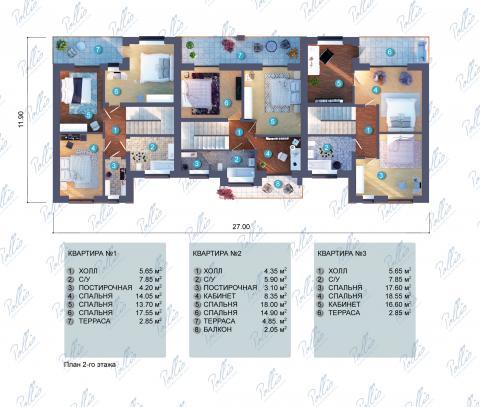 Планировка мансарды / 2го этажа Xb2