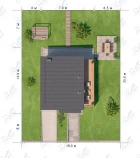 Расположение дома на участке X19a