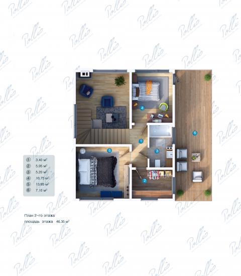 Планировка мансарды / 2го этажа X19a