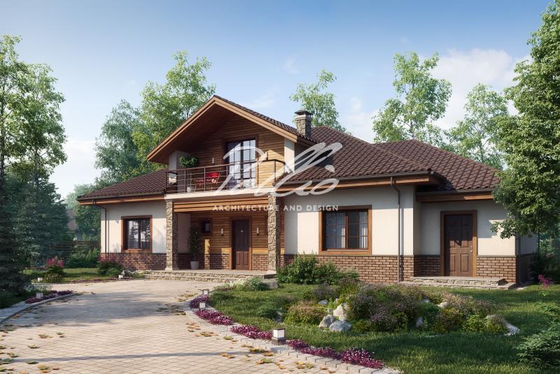 X1a. Классический проект мансардного дома с усовершенствованиями