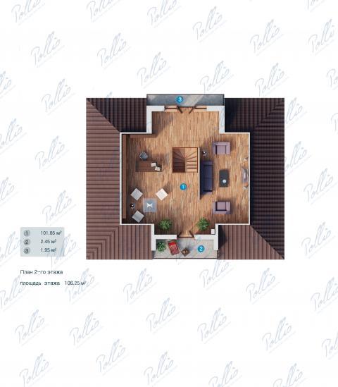 Планировка мансарды / 2го этажа X1 A