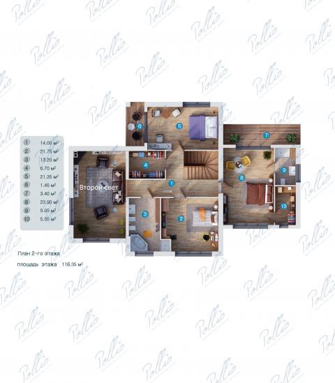 Планировка мансарды / 2го этажа X10a