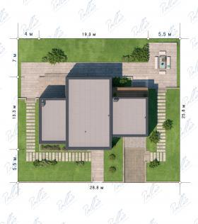 Расположение дома на участке X10 a