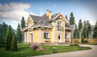 X2a. Классический проект мансардного дома в стиле Прованс