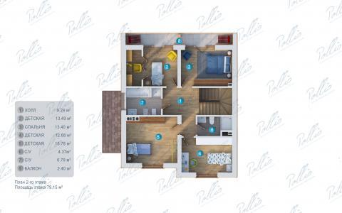 Планировка мансарды / 2го этажа X24