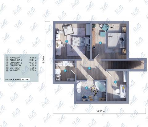 Планировка мансарды / 2го этажа X12b