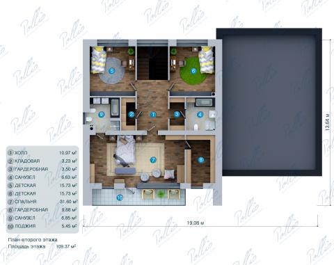 Планировка мансарды / 2го этажа X27