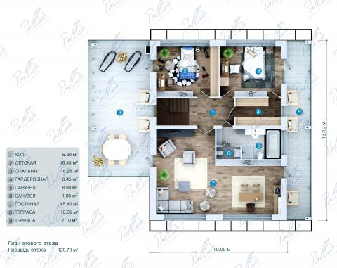 Планировка мансарды / 2го этажа X29