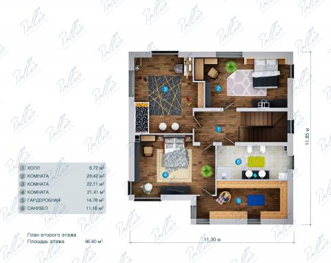 Планировка мансарды / 2го этажа X30