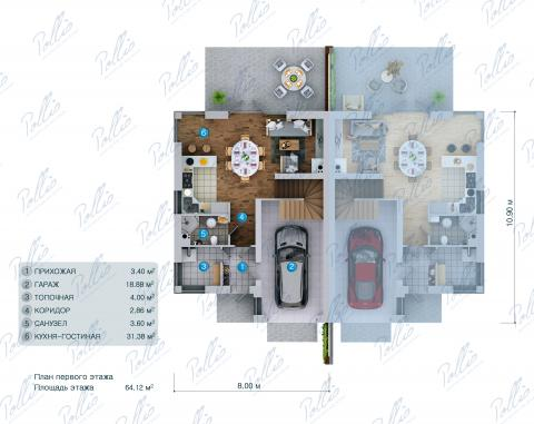 планировки первого этажа проекта Xb4
