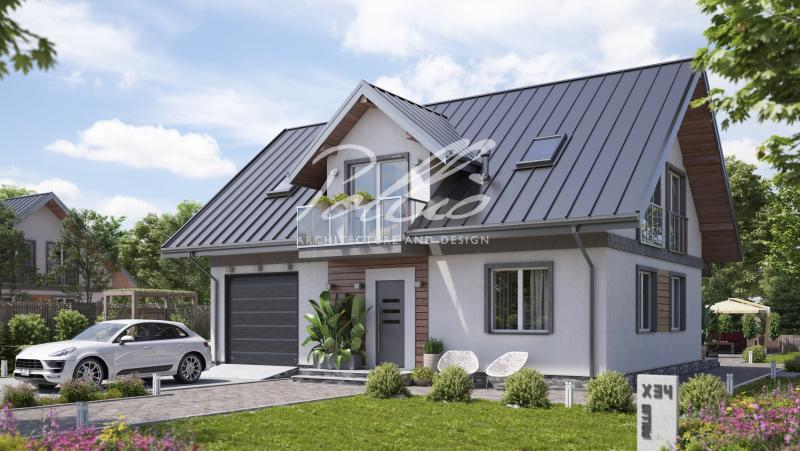 X34. Стильный мансардный дом