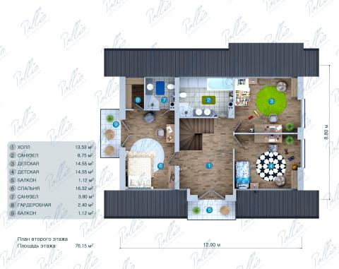 Планировка мансарды / 2го этажа X34