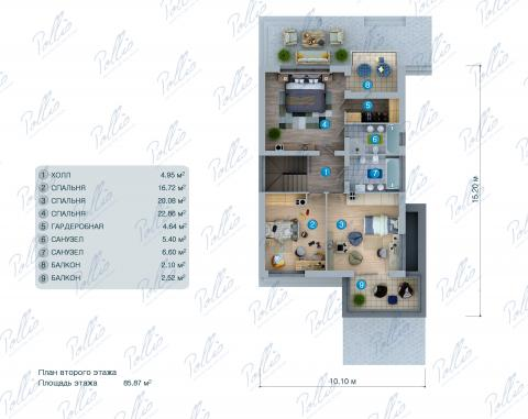 Планировка мансарды / 2го этажа X38