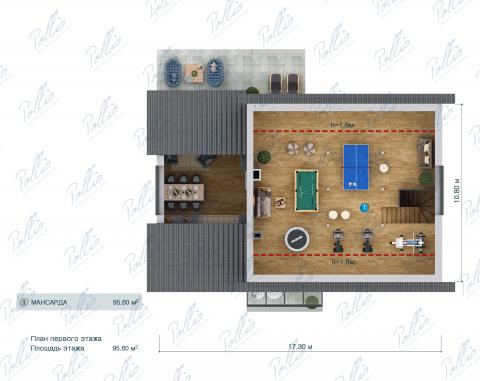 Планировка мансарды / 2го этажа X41